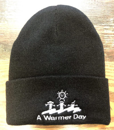 black and white knit hat with logo
