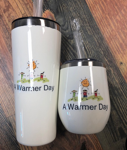 Stainless Steel Mug Set with A Warmer Day Logo
