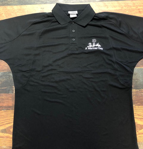 Black Polo with A Warmer Day Logo